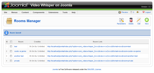 Joomla 2 Way Video Chat Room List